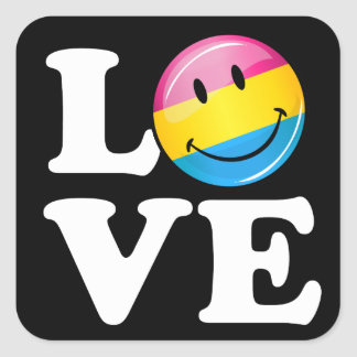 Pansexual Love Smiling Flag Square Sticker