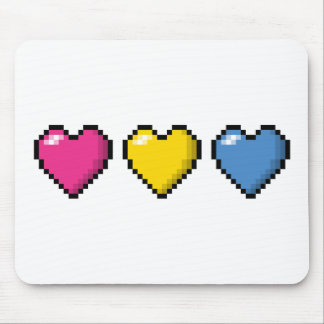 Pansexual Pixel Hearts Mouse Pad