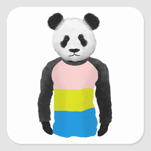 Pansexual pride flag Panda Bear Square Sticker