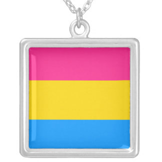 Pansexual Pride Flag Silver Plated Necklace