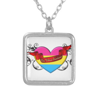 Pansexual Pride: Love Without Boundaries Square Pendant Necklace