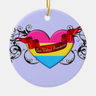 Pansexual Pride: Love Without Boundaries Double-Sided Ceramic Round Christmas Ornament