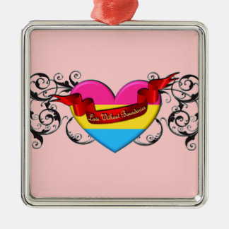 Pansexual Pride: Love Without Boundaries Square Metal Christmas Ornament