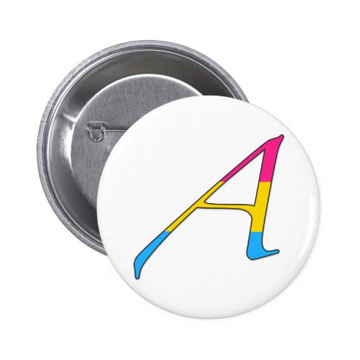 """Pansexual Pride """"Scarlet"""" Letter A Pinback Buttons"""