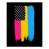 Pansexual Pride Stars and Stripes Poster