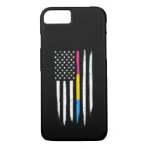 Pansexual Thin Line American Flag iPhone 8/7 Case