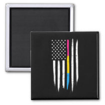 Pansexual Thin Line American Flag Magnet