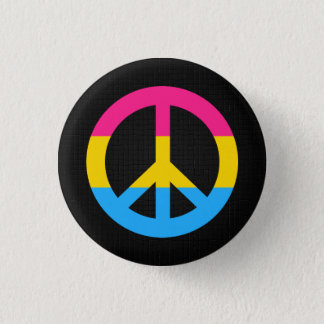Pansexuality flag peace sign button