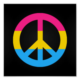 Pansexuality flag peace sign poster