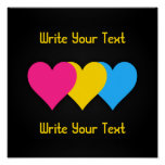 Pansexuality pride hearts Poster Posters