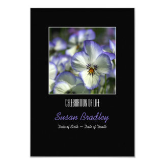 Pansies 2- Celebration of Life - Memorial Service 3.5x5 Paper Invitation Card