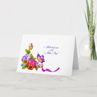 Pansies and Butterfly Mother's Day Card