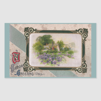 Pansies and Country Home Vintage Birthday Rectangular Sticker