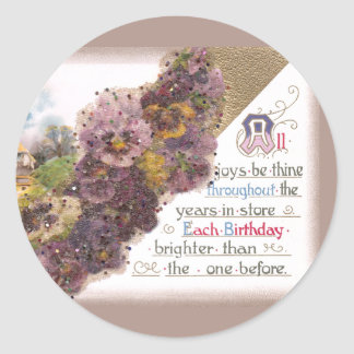 Pansies and Country Vignette Vintage Birthday Classic Round Sticker