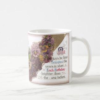 Pansies and Country Vignette Vintage Birthday Coffee Mug