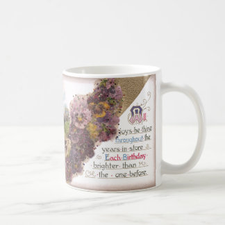 Pansies and Country Vignette Vintage Birthday Coffee Mugs