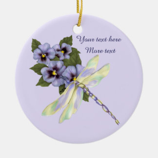 Pansies and Dragonfly Ceramic Ornament