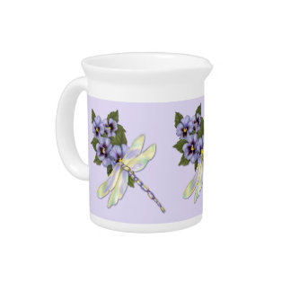 Pansies and Dragonfly Drink Pitcher