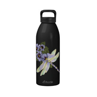 Pansies and Dragonfly Drinking Bottles