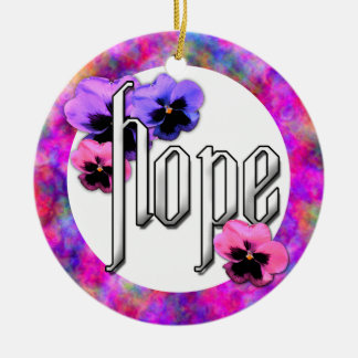 Pansies and Hope Photo Frame Double-Sided Ceramic Round Christmas Ornament