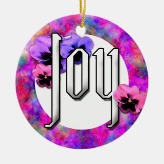 Pansies and Joy Photo Frame Double-Sided Ceramic Round Christmas Ornament