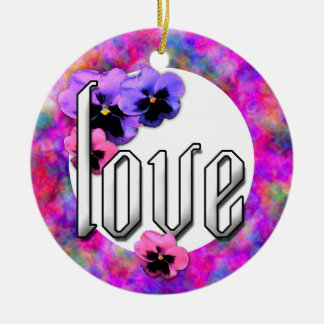 Pansies and Love Photo Frame Double-Sided Ceramic Round Christmas Ornament