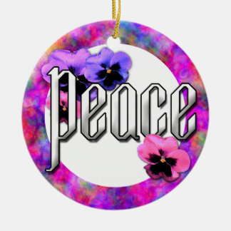 Pansies and Peace Photo Frame Double-Sided Ceramic Round Christmas Ornament