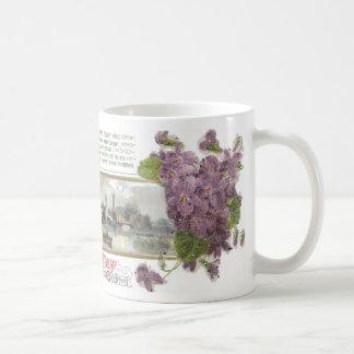Pansies and Serene Vignette Vintage Birthday Mug