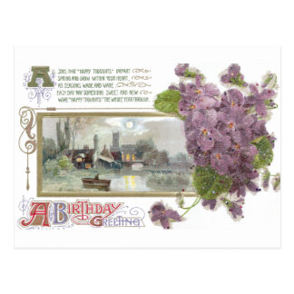 Pansies and Serene Vignette Vintage Birthday Postcard
