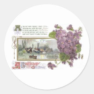 Pansies and Serene Vignette Vintage Birthday Round Sticker