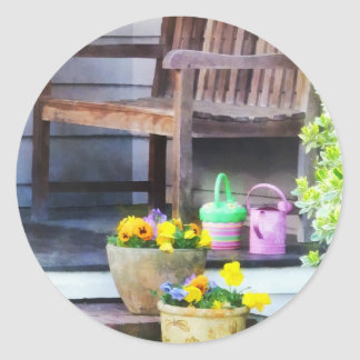 Pansies and Watering Cans on Steps Classic Round Sticker