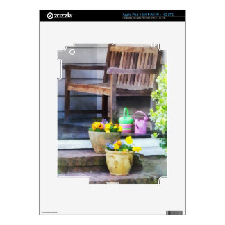 Pansies and Watering Cans on Steps Decals For iPad 3
