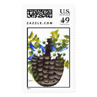 Pansies and Wild Flowers in Basket Postage Stamps
