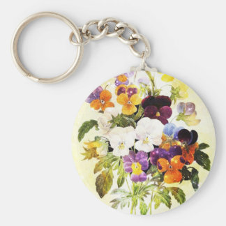 Pansies Basic Round Button Keychain