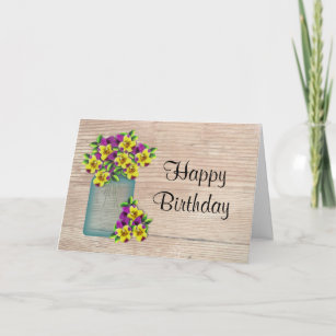 Pansies Birthday Card Large Print