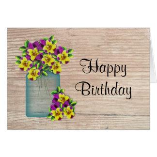 Pansies Birthday Card (Large Print)