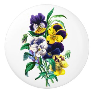 Pansies Bouquet Round Ceramic Knob