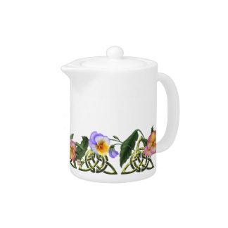 Pansies & Celtic Triskels Teapot