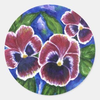 Pansies Classic Round Sticker