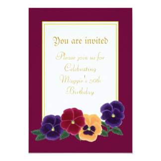 Pansies Floral 50th Birthday Party Invitations