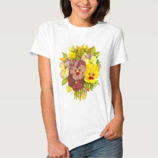 Pansies Floral Retro Vintage Composition T-Shirt