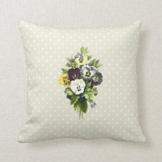 Pansies, Flowers, Leaves - Blue Yellow White Throw Pillow
