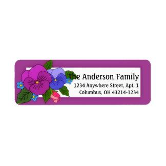 Pansies Flowers Return Address Labels d1