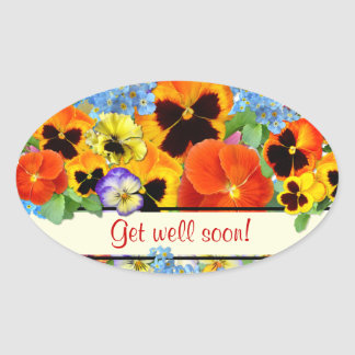 Pansies & Forget-me-nots Oval Stickers