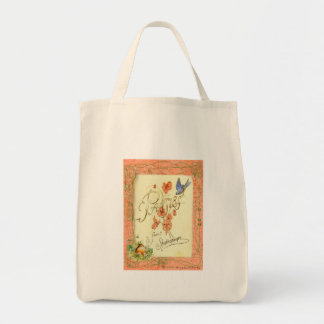 Pansies from Shakespeare Collage Art Tote Bags