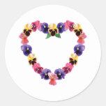 Pansies Heart Round Sticker
