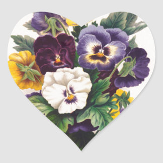 Pansies Heart Sticker
