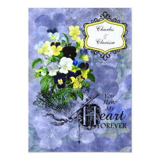 Pansies Heart Wedding  5x7 Invitation