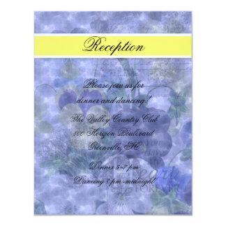 Pansies Heart Wedding Reception Card