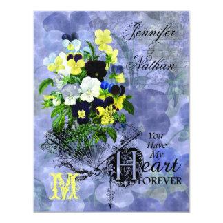 Pansies Heart Wedding RSVP Cards